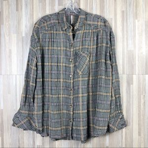 Free People | Plaid Long Sleeve Button up